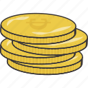 cash, coins, currency, stack icon