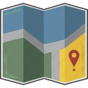 folded, location, map icon