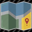 folded, location, map icon