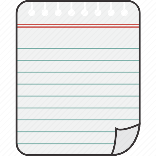 lined, notebook, paper icon