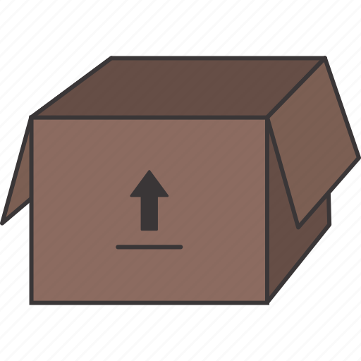 box, cardboard, moving, open icon