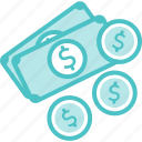 bills, cash, coins, currency, money icon