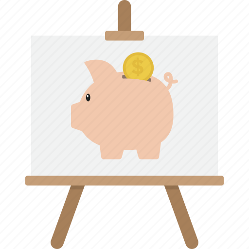 business, easel, finance, marketing, money, presentation icon