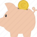 bank, euro, piggy, piggy bank, piggyback, savings icon