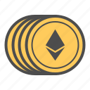 coin, coins, crytocurrency, ethereum icon