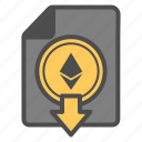 crytocurrency, document, down, download, ethereum icon