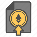 crytocurrency, document, ethereum, up, upload icon