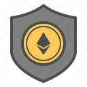 crytocurrency, ethereum, guarantee, safe, secure, security icon