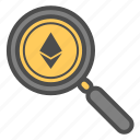 crytocurrency, ethereum, magnifier, search, zoom icon