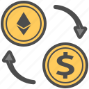 crytocurrency, dollar, ethereum, money, transfer, usd icon