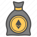 bill, cash, cryptocurrency, ethereum, money icon
