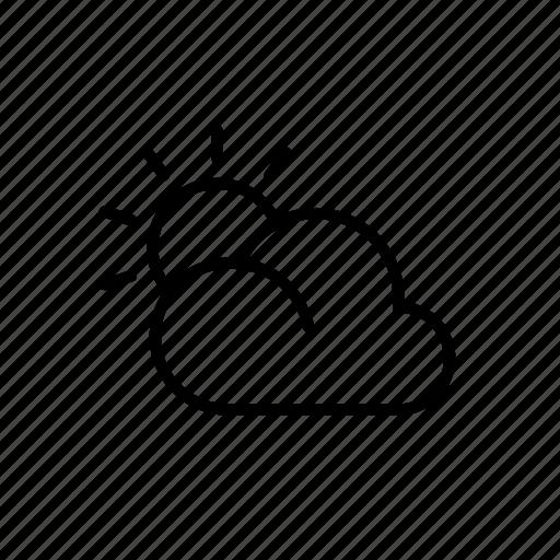 climate, cloud, cloudy, sky, sun, weather icon