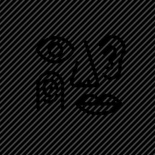 experience, eye, mouse, nose, sense, touch icon