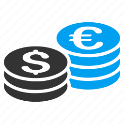 business, coin stacks, currency, dollar, euro, finance, money icon