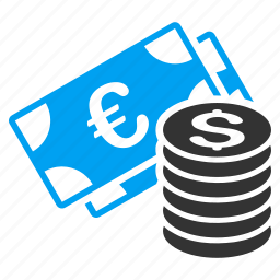 business, cash, currency, dollar, euro, finance, money icon