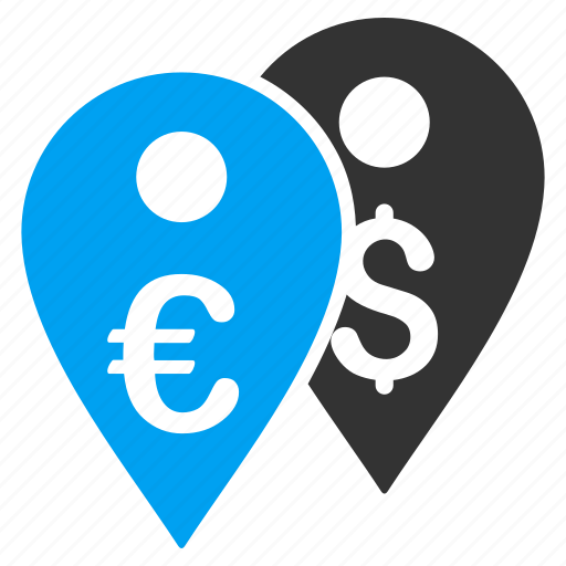 dollar marker, euro, location, map markers, pin, place, pointer icon