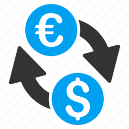 banking business, change, currency exchange, dollar, euro, financial transactions, money transfer icon