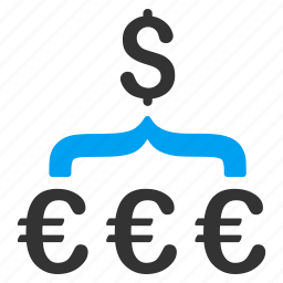 aggregator, currency conversion, dollar, euro, exchange, funnel, money filter icon