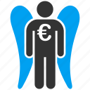 angel investor, euro money, finance, fund, invest, investment, venture capital icon