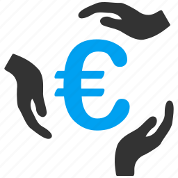 care, euro money, finance, financial insurance, hands, protection, safety icon