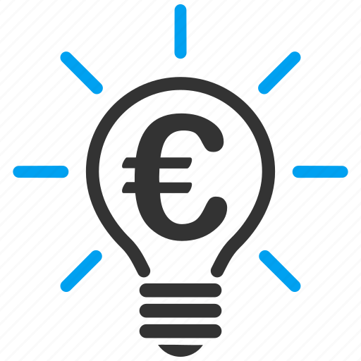 electric bulb, electricity, euro, idea, lamp, light, power icon