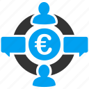 business, communication, euro finance, financial, internet, social network, web icon