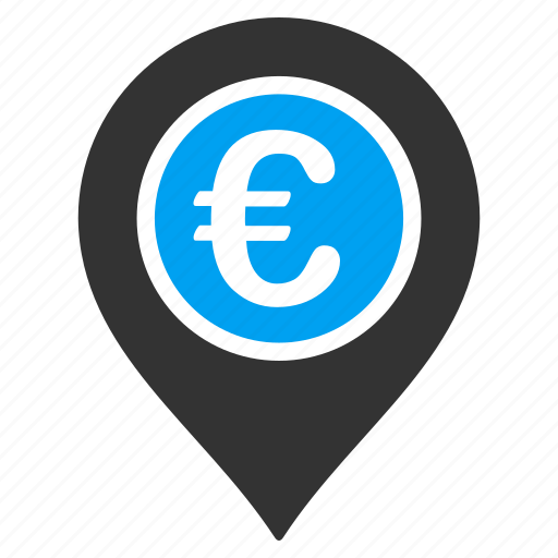 bank pointer, currency, euro finance, location, map marker, money, payment icon