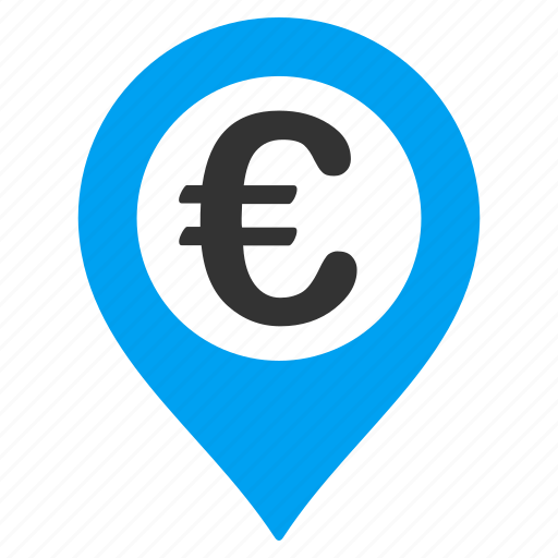 bank pointer, euro currency, location, map marker, navigation, payment, pushpin icon