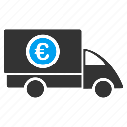 euro finance, financial, logistics, money delivery, shipment business, shipping, transportation icon