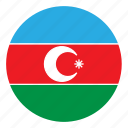 azerbaijan, color, country, europe, flag, nation, round icon