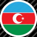 azerbaijan, country, europe, flag, round, color, nation icon