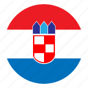 color, country, croatia, europe, flag, nation, round icon