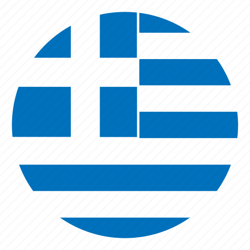 color, country, europe, flag, greece, nation, round icon