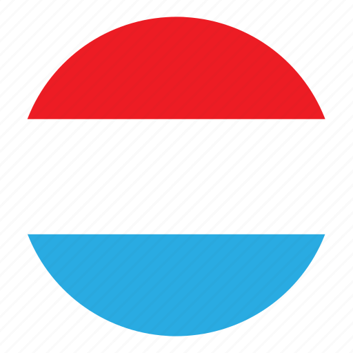 color, country, europe, flag, luxembourg, nation, round icon