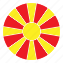 color, country, europe, flag, macedonia, nation, round icon