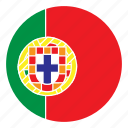 color, country, europe, flag, nation, portugal, round icon