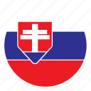 color, country, europe, flag, nation, round, slovakia icon