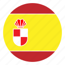 color, country, europe, flag, nation, round, spain icon