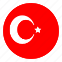 color, country, europe, flag, nation, round, turkey icon