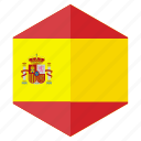 country, design, europe, flag, hexagon, spain icon