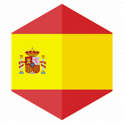 country, design, europe, flag, hexagon, spain icon
