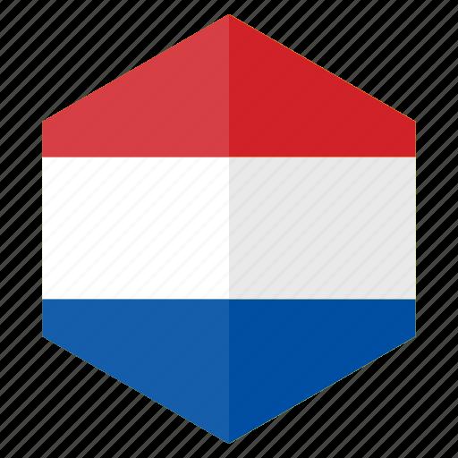 country, design, europe, flag, hexagon, netherland icon