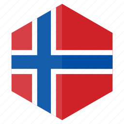 country, design, europe, flag, hexagon, norway icon