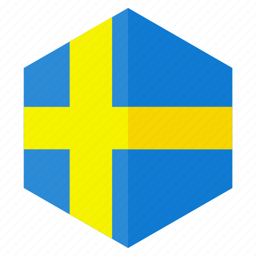 country, design, europe, flag, hexagon, sweden icon
