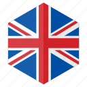 country, design, europe, flag, hexagon, united kingdom icon