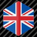 country, design, europe, flag, hexagon, united kingdom