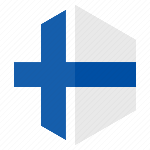 country, design, europe, finland, flag, hexagon icon