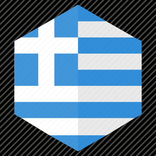 country, design, europe, flag, greece, hexagon icon