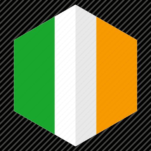 country, design, europe, flag, hexagon, ireland icon