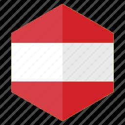 austria, country, design, europe, flag, hexagon icon